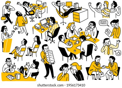 Des gribouillis de divers hommes d'affaires, multiethniques, divers, hommes d'affaires et femmes, employés de bureau, dans les activités quotidiennes. Plan, linéaire, art en ligne mince, croquis dessiné à la main, style simple.