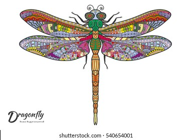 Doodles sketch dragonfly. Stylized animal insect for tattoo, t-shirt, poster, invitation card, textile, paper print. Zen doodle Art. Isolated design element, ethnic totem, hand drawn colorful pattern