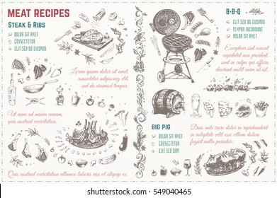 Doodles Sketches meat, steak, barbecue, pig, ribs. template. Isolated vector illustration 4 design menu of restaurants - cafes & books cooking recipes