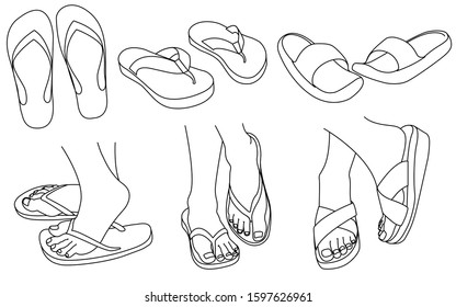 doodles of various kinds of sandals