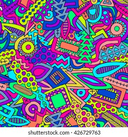 Doodles vector pattern. Doodle pattern. Abstract ethnic elements background. Trendy summer pattern. Funny ornament. Unusual colorful pencil effect doodle. Zentangle pattern. Graffiti style.