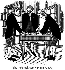 Doodle-style illustration of three men signing the Declaration of Independence in 1776.