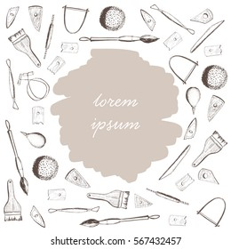 Doodling, hand drawing tools for sculpting, working with clay, pottery wheel and ceramics. Place for your text on a white circle and sepia background. Pottery workshop. Vector illustration.