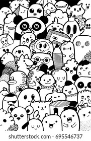 Doodling vector black-and-white coloring the background of the characters kawaii