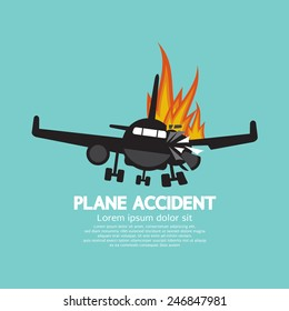 Doomed Plane Accident On Fire Vector Illustration