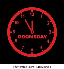 Doomsday clock - countdown to global disaster, catastrophe.and apocalypse. Vector illustration of dial.