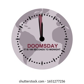 Doomsday clock showing 100 seconds to midnight over map globe. Countdown to global disaster, catastrophe and apocalypse. Vector illustration EPS 10 format