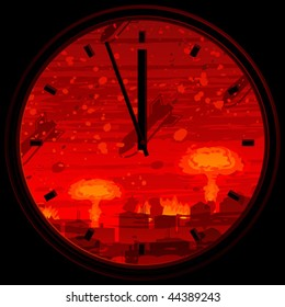 Doomsday clock showing 3 minutes to midnight against nuclear war background (full size background landscape id 44319379)