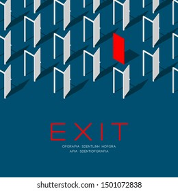 Door 3D isometric pattern, Exit concept poster and social banner post square design illustration isolated on blue background with copy space, vector eps 10