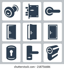 Door and accessory equipment vector icons set