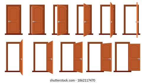 Door animation. Opened and closed wooden doors, sprite animation house entrance. Wood door in different position isolated vector illustration set. House facade or room entry isolated collection
