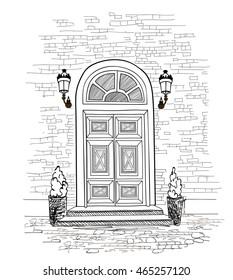 Door background. House door entrance hand drawing illustration