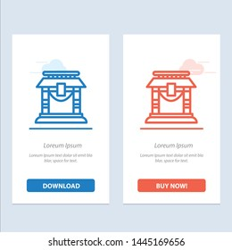Door, Bridge, China, Chinese  Blue and Red Download and Buy Now web Widget Card Template