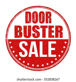 Door buster sale grunge rubber stamp on white background, vector illustration