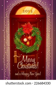 Door decoration. Christmas card \ poster \ banner. Vector illustration.