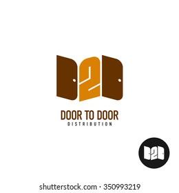 Door to door distribution logo concept. Silhouette of a two doors with 2 digit.