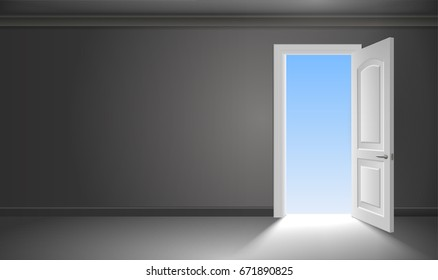 The door and the exit from the dark gloomy room. Concept on the theme of liberation. The beginning of the way. Vector graphics