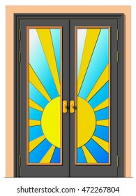 A Door in the form of the sun. Vector illustration of a glazed double leaf door.
