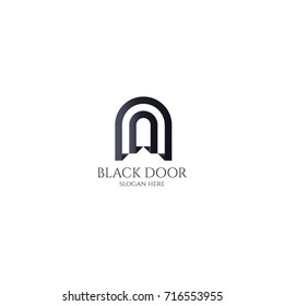 door gate logo for home entrance. wood black house doorway or real estate business. minimal design letter A, D or U. future modern construction company. concept symbol vector illustration