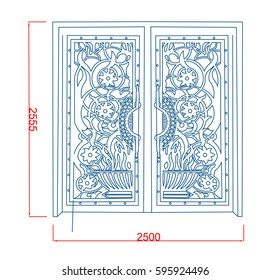 Door gate vector line art with dimension green paint on the white background