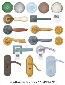 Door handle vector doorknob to lock doors at home and metal door-handle in house interior illustration set of entrance door-knob design isolated on white background