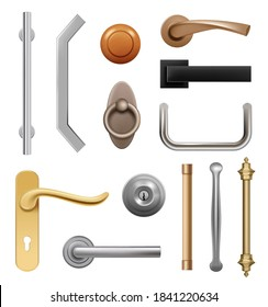 Door handles. 3d modern furniture wooden and metal items interior symbols handles vector realistic