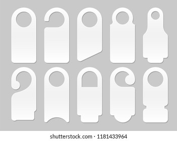 door hanger mockup. hotel room private hang vector shapes template isolated