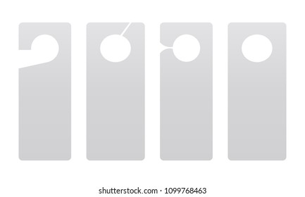 Door hanger mockup isolated on white background. Display your design on this blank samples. Vector illustration