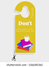 "Door hanger ""Please don't disturb"" with books and coffee."
