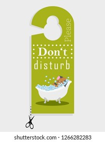 "Door hanger ""Please don't disturb"" with dog in bathtub"