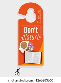 """Door hanger """"Please don't disturb"""" with cup of coffee and open book"""