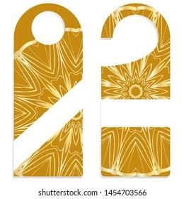 Door Hanger Tags for Room in Home, Hotel, Resort with Floral Mandala Design. Vector illustration