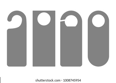 Door Hanger Tags for Room in Hotel or Resort . Paper Door Handle Lock Hangers Set. Empty Mock Up. Do Not Disturb. Vector Illustration