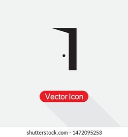 Door Icon Vector Illustration On Light Gray Background Eps10