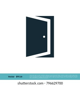 Door Icon Vector Logo Template Illustration Design. Vector EPS 10.