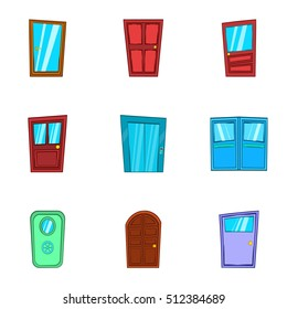 Door icons set. Cartoon illustration of 9 door vector icons for web