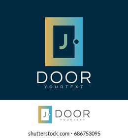 door initial Letter J Logo design