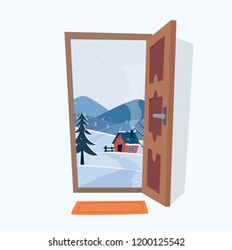Door into winter landscape. Flat cartoon style vector illustration.