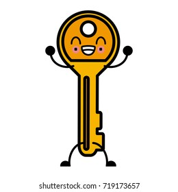 Door key isolated cute kawaii cartoon