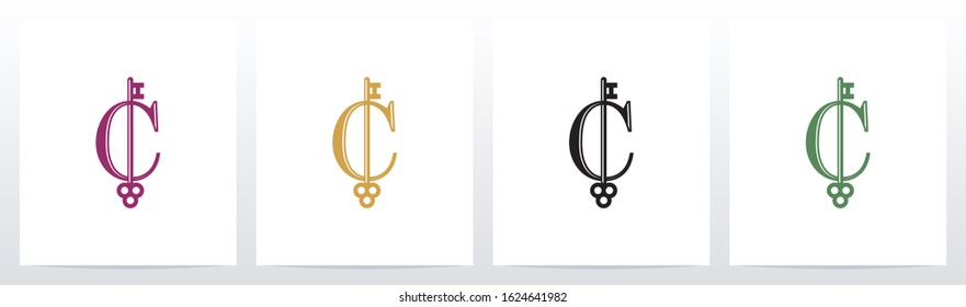 Door Key On Letter Logo Design C