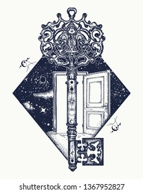 Door and key tattoo. Symbol of imagination, creative idea, motivation and new life. Open door in universe t-shirt design. Surreal psychological illustration