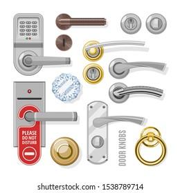 Door knobs vector doorknob handle to lock doors at home and metal door-handle in house interior illustration. Set of entrance door-knob design isolated on white background.