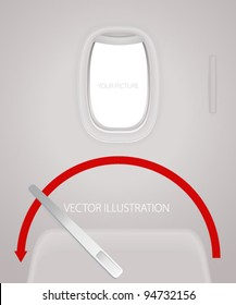 Door with lever for open and porthole of airplane. Creative concept of travel by plane. Interior of aircraft with your ideas of view from window and meaning of the flight. Vector layout