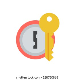Door lock with key vector icon in a flat style. Concept security symbol, security or confidentiality. Round keyhole key isolated from the background. Sign lock password or code.