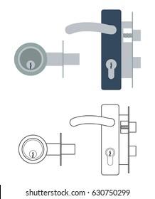 Door lock mechanism with handle and with dead bolt