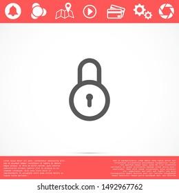 Door lock vector icon. Door castle for house icon. Door castle for sale icon.Door lock for storing icon.