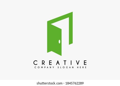 Door logo design vector illustration. Door icon design. Suitable for business and Furniture logos isolated on white background