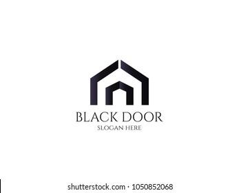door logo for house home or real estate. letter A or D. entrance, wood gate, construction, doorway symbol vector illustration