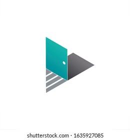 door logo play button design triangle