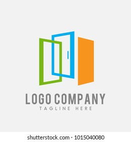 door logo vector, window icon abstract